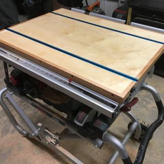 Table saw work surface with integrated T-track for hold-downs.