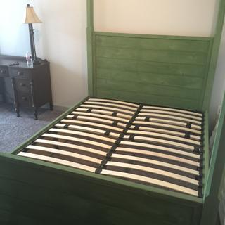 Completed bed with slats in place. Paint is Old Fashioned Milkpaint Co. Hunter Green.