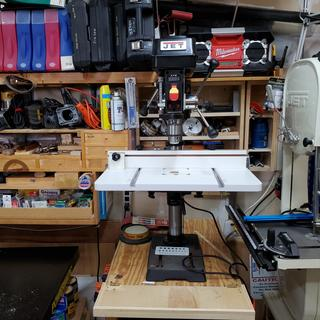 I added a table to the drill press. My 35 year old drill press gave out, JET is an awesome upgrade!