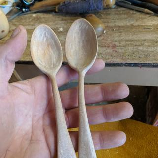 Front/top side of African mahogany spoons.