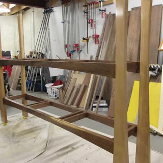 Walnut and sycamore sideboard frame