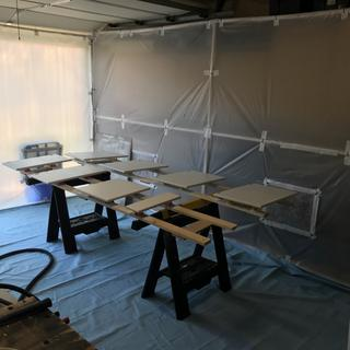 Foldable, portable spray paint booth.