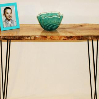 Live edge curly maple mid century console table