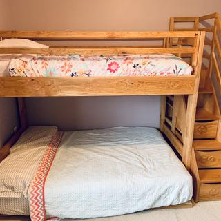 Bunk Bed with stairs, drawers and book shelves. Used less than 1/2 pint of Tried & True.