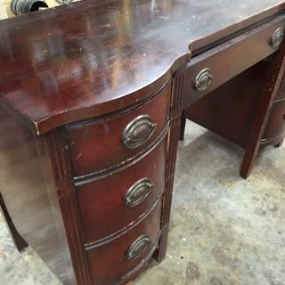 This piece is about 60-70 years old. Stripped it and the hardware. The owner wanted a similar color