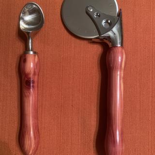 Pizza cutter and ice cream scoop in cedar.