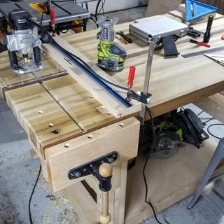 Installing T-Track and dog holes for workbench surface clamping options