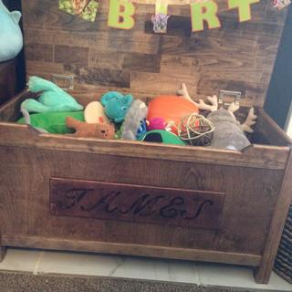 Toy box for grandsons first birthday. Makeing sure his  fingers were safe. Hinges worked great!