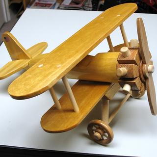 Stearman wood biplane made from Rockler yellow-heart wood.