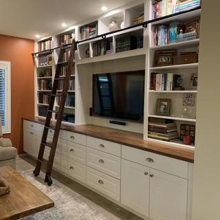 After building this wall system the 8' lladder made a huge difference in looks and functionality.