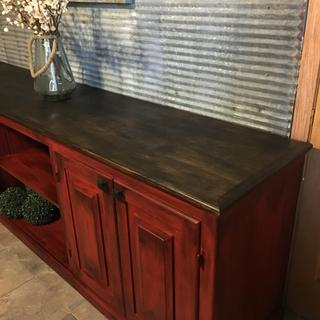 Brick red , black glaze , and gel stain on top