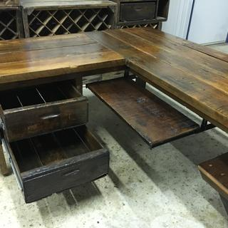 Barn wood desk and sewing table. The keyboard slides fit well and had a smooth glide.