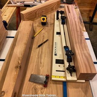 Cutting fir 4x4's with the taper jig.