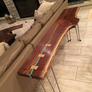 Black Walnut Sofa Table with bowties, and turquoise inlays
