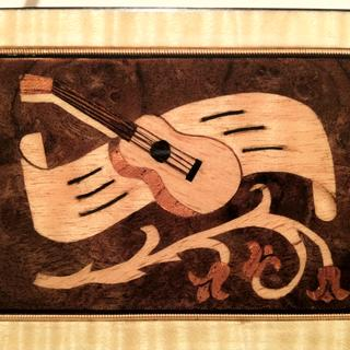 """Kazoo box"" marquetry picture cut by hand.  The design is mine as well."