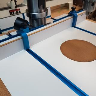 Custom table using the  Rockler 24 inch drill press fence.