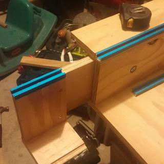 Cross cut sled with rockler t track kit