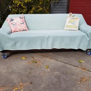 My garage sofa has wheels! Rockler casters make moving it into the sun so easy!