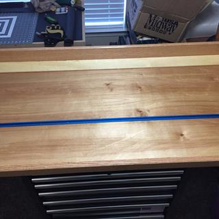 Custom workbench top on a seven drawer rolling tool chest