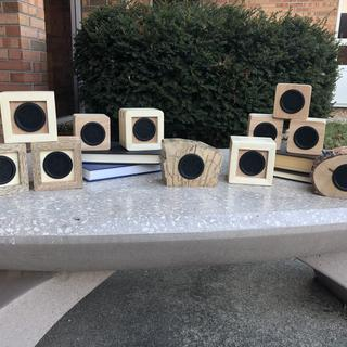 Speakers made with provided plans and two variations.