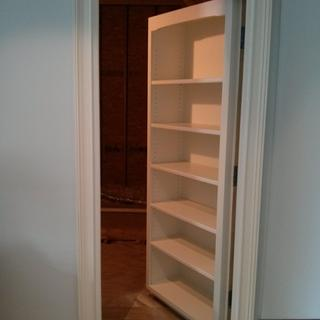 The Rockler Pro Shelf Drilling Jig worked fantastic on this secret bookcase door project.