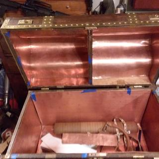 Still working on interior, Copper sheeting and brass trim