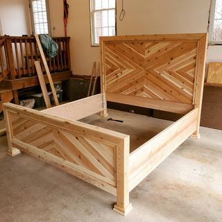 Right side king bed frame, all cedar.