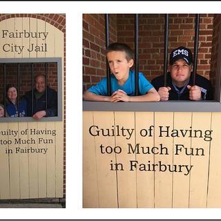 "3/4"" oak Rockler dowels as the mock jail cell bars."