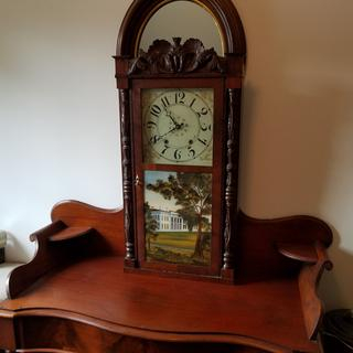 Those cork pads keep this federal period clock from abrading the top of this early commode.