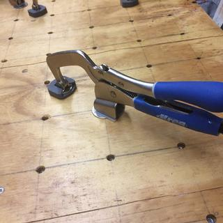 "T Nuts mounted on 3"" centers allow clamping anywhere on table"