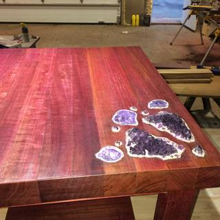 Purple Heart table built with help from sure foot clamps