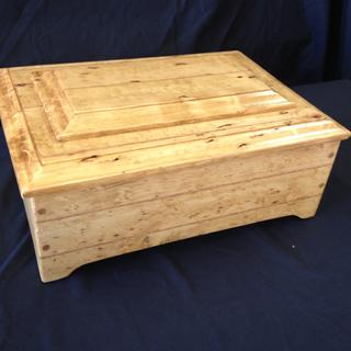 "Pine box with red oak accents. Corners pinned with 1/4"" dowels."