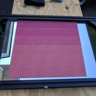 All 6 strips applied in increasing order on a repurposed projector mirror.