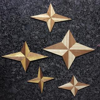 Christmas stars, African mahogany, cherry, white ash and yellowwood.