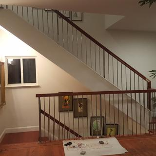 Handrails at landing and upstairs