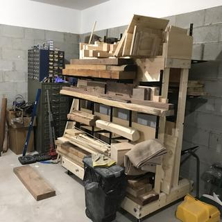 This lumber cart holds so much wood and I haven't even gotten all the shelves that I could use.