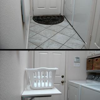Folding shelf in narrow laundry room.  Life improved 100%.