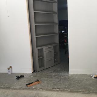 """This bookcase door is in the a client's garage. It's 47""""wide x 110"""" high."""
