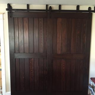 Handmade sliding bypass barn doors.