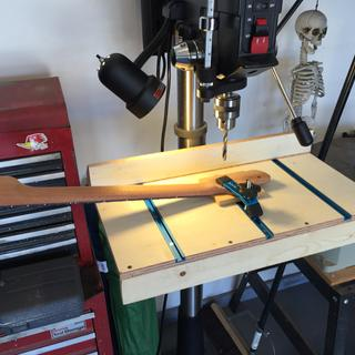 I made this simple drill press table utilizing the Rockler t-track and clamp set.