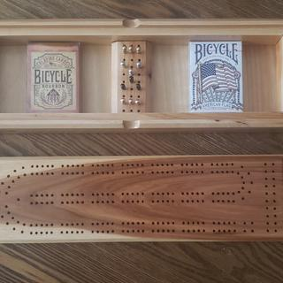 Hickory cribbage board and box.
