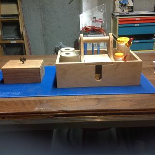 Keepsake box made and sanding glueing tote protected by project mat!!