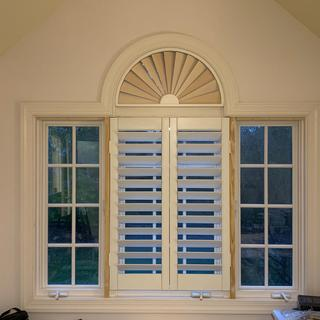 Another view of shutters. The semicircle is easier than the arch top. I used Rockler parts.