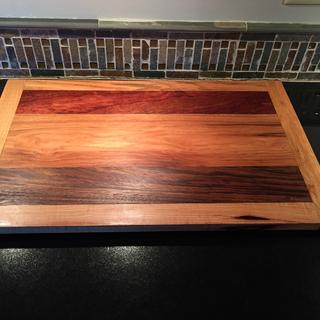 """Likewise, same cutting board using """"pieces"""" of exotic wood from Rockler."""