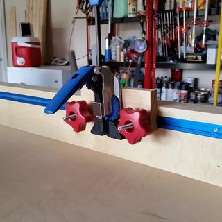 Rockler Auto-Lock T-Track Clamp mounted to crosscut sled