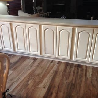 Refinished kitchen cabinets using chalk paint and General Finishes sealer