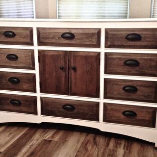 Refinished dresser using chalk paint, wood stain and General Finishes clear satin sealer