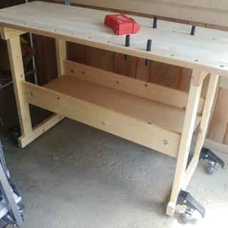 Bench with casters installed