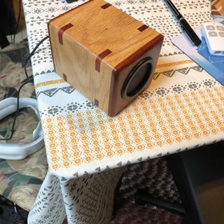 Red Oak case, paduk front, back, & splines