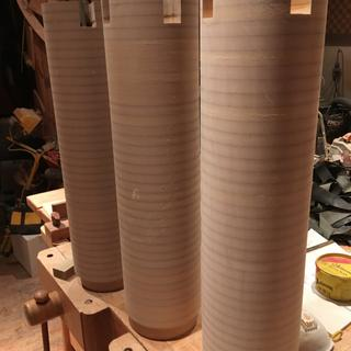 MDF circles stacked to create the legs.